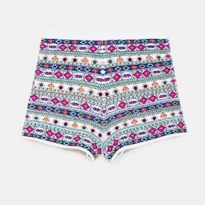 NWT Zara Embroidered Beaded Knit High Waist Shorts